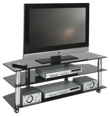 tv m bel kaufen tv rack chromfarben schwarz pc tisch vedrico in gra m belhaus. Black Bedroom Furniture Sets. Home Design Ideas